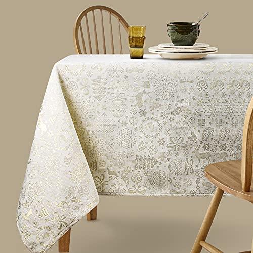 Viste tu hogar Mantel con Hilo Dorado, 140 x 140 CM, Especial para Decoración de Hogar con Diseño Moderno y Elegante, Ideal para Cenas Familiares, Cumpleaños y Otras Fechas Especiales, Color Beige.