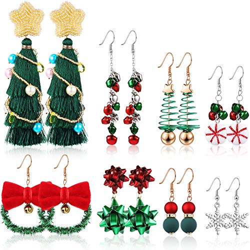 8 Pairs Christmas Drop Dangle Earring Set Snowflake Bells Candy Christmas Tree Large Tassel Golden Beaded Earrings Pierced Hook Drop Earrings for Women Girls