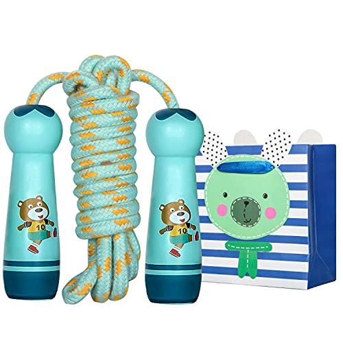 Comba Niños, Cuerda Saltar Niños, Niños Ajustable Cotton Jumping Rope Cuerda Saltar Niños con Mango de Madera de Dibujos Animados para Niños y Niñas Deportivo