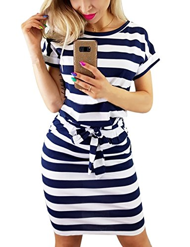 Yieune Sommerkleid Damen Lose Abendkleid Einfarbig Knie Lang Kleider Elegant Strandkleid Minikleid (Marine L