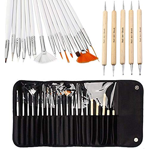 ONE1X Nail Art Pinsel Nail Art Design Malerei Detaillierung Pinsel & Dotting Tool Kit Set-15 Bürste + 5 Dotting Pen