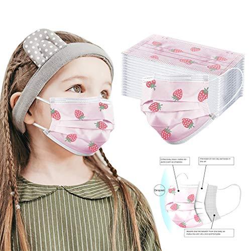 50 STK Kinder Einweg 3-lagig Filter Atmungsaktive Gesichtsschutz Einmal-Mundschutz, Staubs-chutz Atmungsaktive Mundbedeckung,Bandana Face-Mouth Cover für Camping,Laufen,Radfahren(3-14) (50)