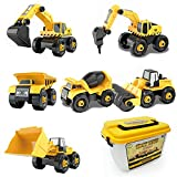 CeleMoon Set of 6 Take Apart Truck Construction Vehicles- Excavator, Bulldozer, Dump Truck, Drilling Truck, Road Roller, Cement Mixer 104 Pieces STEM Toy & DIY Building Play Set for Kids Age 3+
