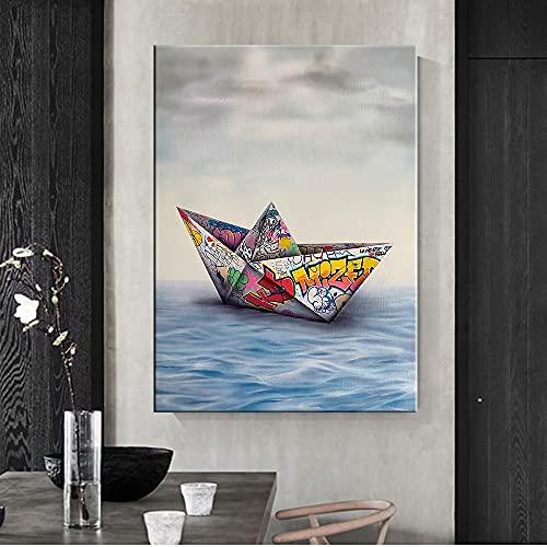 CHBOEN Papel Origami Barco Graffiti Arte de la pared Impresión en lienzo Carteles Pintura Imagen del mar Decoración del hogar Sala de estar Obra de arte moderna Modular 60x90cm