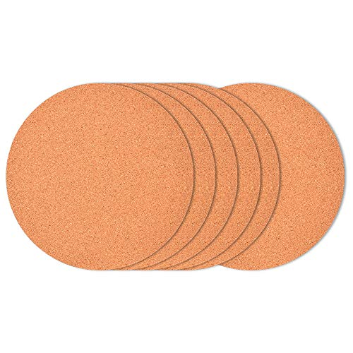 6-Pack 6 Cork Coasters Round Cork Plastic Plant Saucers for Gardening Cork trivets for hot pots and Pans Absorbent Cork mat for Wine Coffee Drinks Cork Board for DIY Craft Supplies A