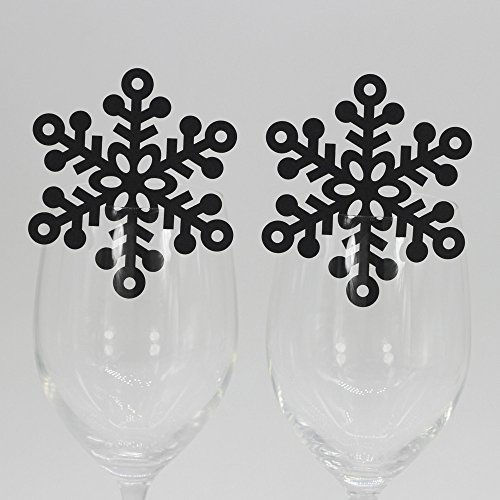 50pcs Snowflake Wedding Party Table Number Name Paper Place Cards Wine Glass Cup Decoration Wall Decals Sticker Wine Glass stickers for Wedding Party Favor