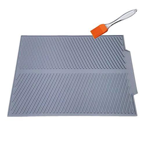 KeepingcooX® Samopróżniająca się mata do suszenia naczyń z wielofunkcyjną szczotką, 43 x 33 cm bardzo duża kuchenna składana mata odpływowa na blat, nadaje się do mycia w zmywarce, silikon premium odporny na ciepło