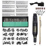 Electric Micro Engraver Pen Mini DIY Vibro Engraving Tool Kit for Metal Glass Ceramic Plastic Wood Jewelry with Scriber Etcher(1pen 16 Stencils) (Black)
