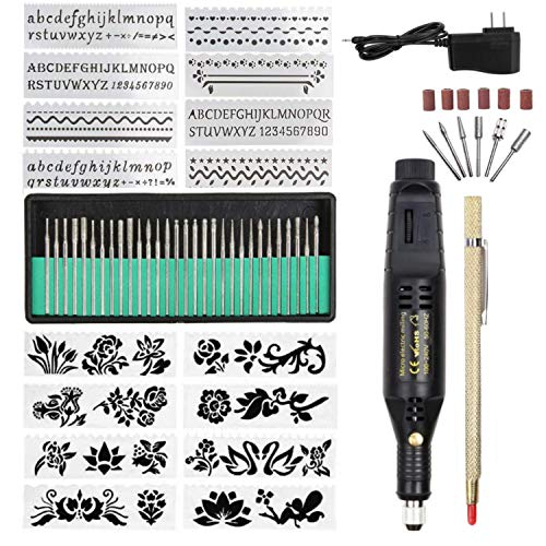 Electric Micro Engraver Pen Mini DIY Vibro Engraving Tool Kit for Metal Glass Ceramic Plastic Wood Jewelry with Scriber Etcher(1pen 16 Stencils) (Black)