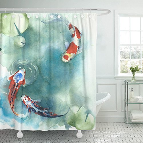Emvency Shower Curtain Colorful Carp Fish Japanese Symbol Pond Watercolor Painting Orange Asian Waterproof Polyester Fabric 72 x 72 inches Set with Hooks
