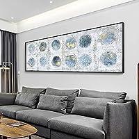 抽象的な壁の芸術の絵画青い丸い金箔のポスターはキャンバスに印刷します現代の家の装飾リビングルームの写真50x150cmフレームレス