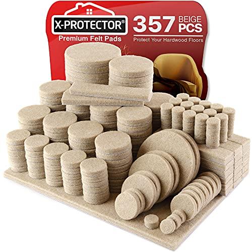 X-PROTECTOR Filzgleiter selbstklebend - 357 Stück Möbelgleiter – Filzgleiter Groß für Stuhlbeine - Premium Möbel Filz selbstklebend für Möbelfüße - Vorteilspack - Schützen Sie Ihre Holzfußböden!