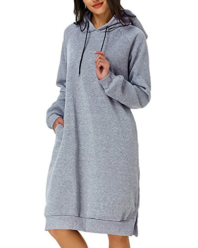 Kidsform Damen Hoodie Pullover Kapuzenpullover Herbst Pulli Kleider Sweatjacke Jumper Lange Sweatshirt S grau