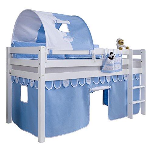 Relita Halbhohes Spielbett Alex mit Vorhang, 1-er Tunnel und Tasche, Buche massiv, weiß lackiert
