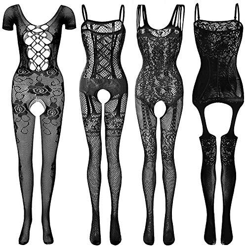 GVIANCXI 4 Pack Femmes Rayé Lingerie Sexy sous-vêtements De Nuit Crotchet Mesh Costume Siamois