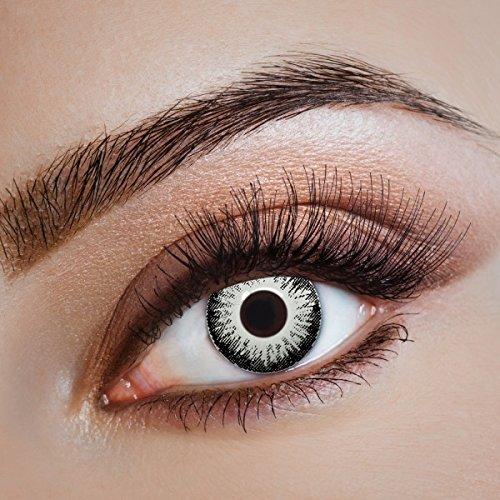 aricona Kontaktlinsen - Halloween Zombie Kontaktlinsen - Schwarz-Weiße Kontaktlinsen für Halloween & Kostüm-Partys, 2 Stück