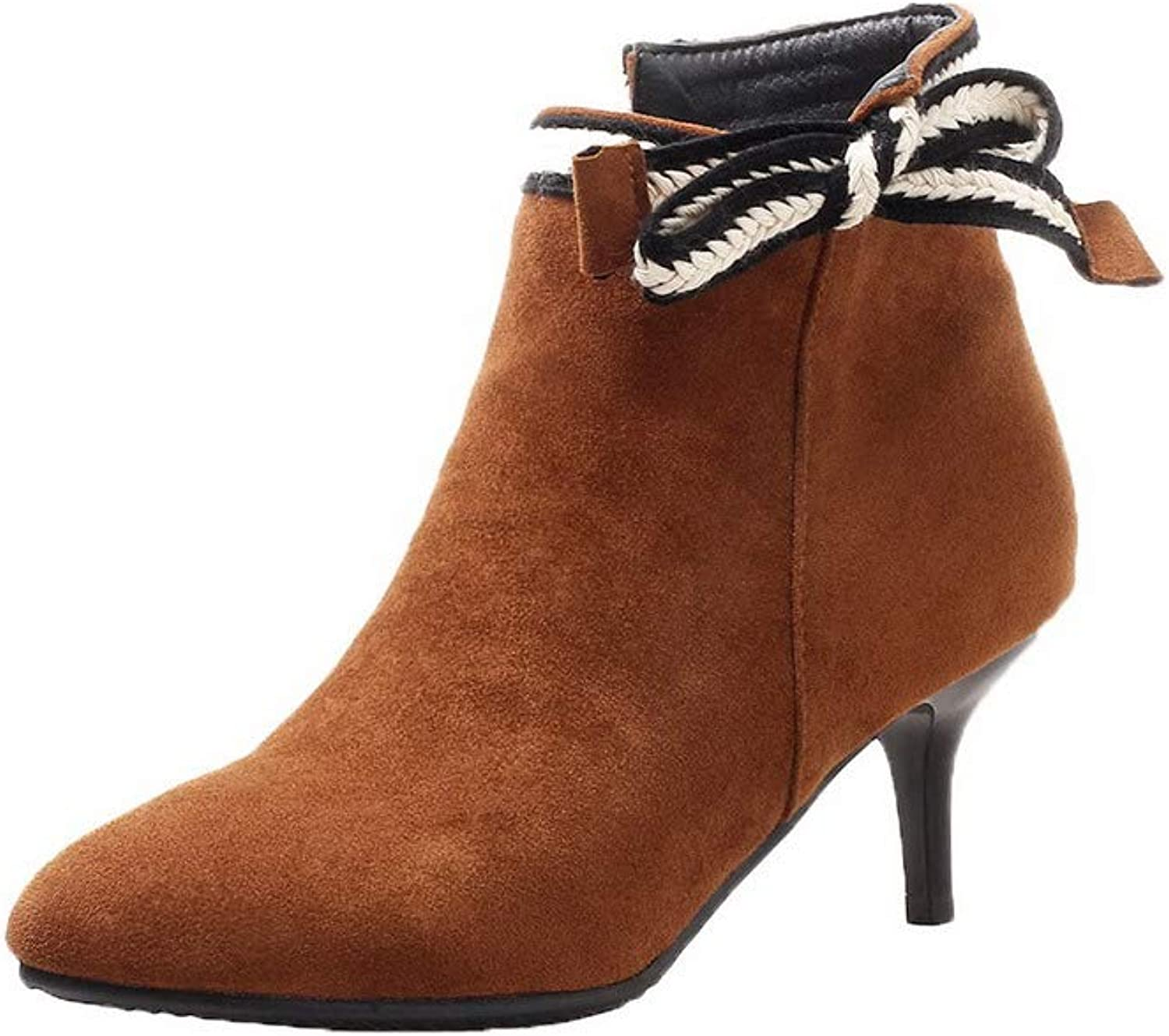 WeenFashion Women's Assorted color Imitated Suede Zipper Closed-Toe Boots, AMGXX119460