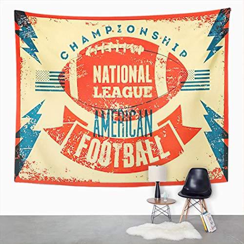 Y·JIANG Tapiz retro, diseño de fútbol americano, vintage, para decoración de dormitorio, 203 x 152 cm