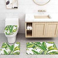 ZGDPBYF 浴室用アップホームバスマットバナナリーフグリーンホワイトフレッシュプリントバスマットシャワーフロア用カーペットバスタブマット