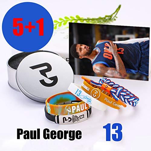 ZZH NBA Los Angeles Clippers Bracciali in Silicone Motivazionale Set, Paul George, Braccialetto Sportivo Unisex,A1