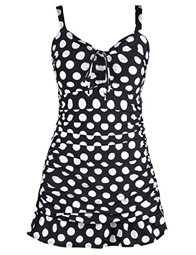 Septangle Women's Swimsuit One Piece Large Polka Dots Skirt Bathing Suit Ruffled Hem Swimdress (White,US 14)
