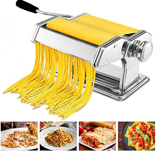 Pasta Maker Machine, Hopekings Stainless Steel Noodle Machine with 7 Adjustable Thickness Settings Pasta Cutter Hand Crank for Spaghetti, Fettuccini, Lasagna