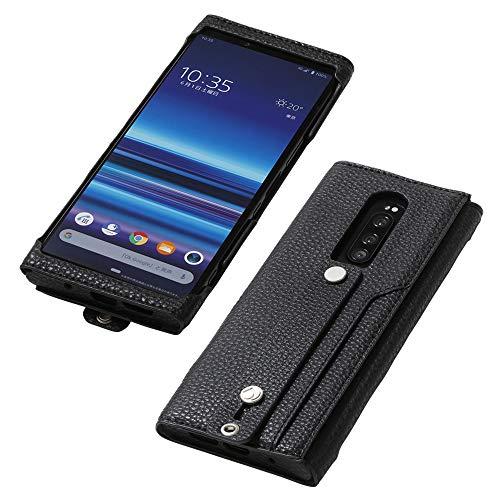 Deff(ディーフ) Xperia 1 PU レザーケース SO-03L SOV40 Made for Xperia取得 clings SLIM HAND STRAP CASE for Xperia 1 サイドセンス対応 ハンドストラップ カード入れポケッ