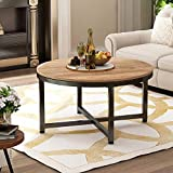 Round Coffee Table Rustic Style Coffee Table for Living Room Home Office Wood Desktop Metal Frame