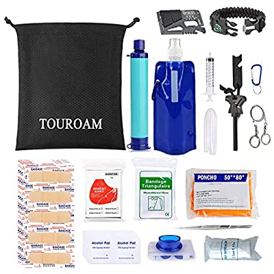 TOUROAM 64 Pieces Survival First Aid Kit IFAK Molle System Water FilterPurification Compatible Outdoor Gear Emergency Kits Trauma Bag for Camping Boat Hunting Hiking Home Car Earthquake and Adventures