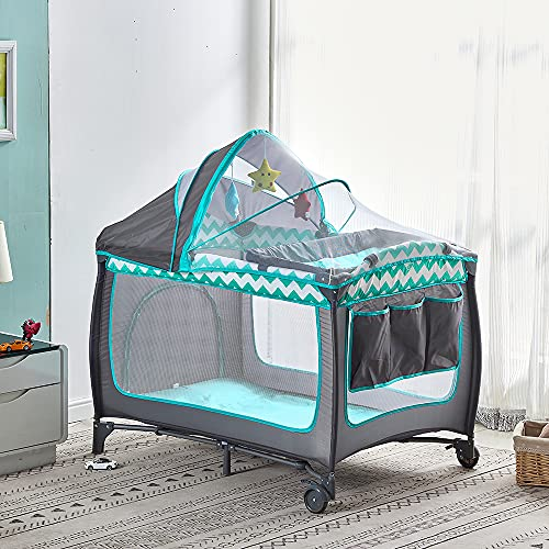 2 in 1 Baby Travel Cot with Mattress 114 x 77cm, Foldable Baby Crib and Playpen (Birth to 3Y), Portable Infant Nursery Center Playard with Changing Table, Mosquito Net, Wheels, Carry Bag, Grey-Green
