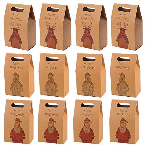 Mirrwin Sacchetti Biscotti Natalizi Sacchetto Regalo di Natale in Carta Kraft Sacchetti Regalo con Manico in Carta Kraft Scatole di Caramelle di Carta Kraft di Natale Adatto a Regali 12 Pezzi