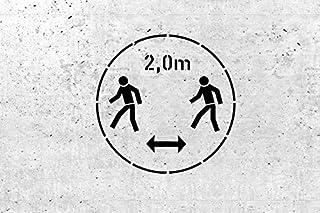 Schablone für Gebotszeichen 2,0m Abstand halten  für Wand und Boden