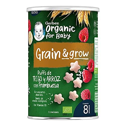 GERBER Organic Trigo y Arroz con Frambuesa 40 g - Pack de 5
