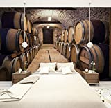 Tamaño personalizado 3D Foto Mural Etiqueta de la pared Antigua Bodega de Vino Papel Pintado Extraíble Vinilo Art Home Decor, 200x140cm