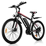 VIVI 26 inches 350W Electric Bike Electric Mountain Bike Adults Ebike with Removable 10.4Ah Battery Professional 21 Speed Gears (RED)
