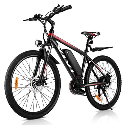 "VIVI Electric Mountain Bike 350W 26"" 36V 10.4Ah Removable Battery E-Bike 25MPH 21 Speed Gears Adult E-Bike Commuter Bike(RED)"