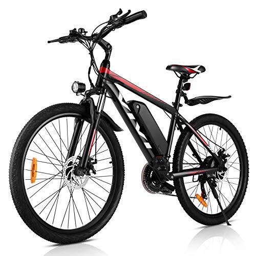 Vivi 26'mountain bike elettrica 250 W 36 V 10,4 Ah batteria rimovibile pendolare bici 25 MPH 21 marce e-bike per adulti (ROSSO)