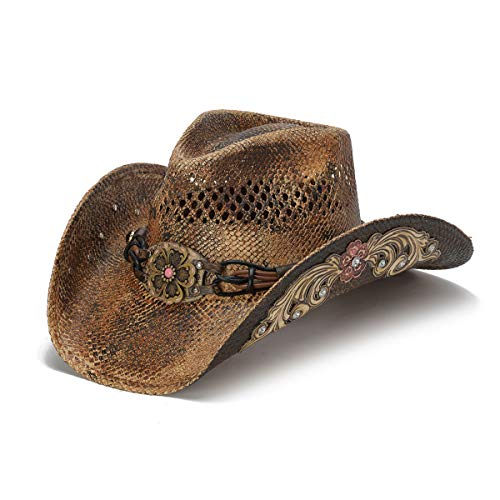 Stampede Hats Women's Glory Rider Flowers and Rhinestone Western Hat XS Brown