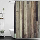 Wooden Dorm Shower Curtain, Antique Old Planks Flooring Wall Picture American Style Western Rustic Panel Graphic Print Heavyweight Fabric Bathroom Curtain, 72' x 78'