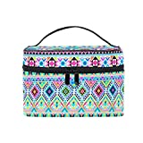 HaJie - Bolsa de maquillaje de gran capacidad organizadora boho étnico colorido azteca viaje portátil neceser neceser bolsa de almacenamiento bolsa de lavado para mujeres y niñas