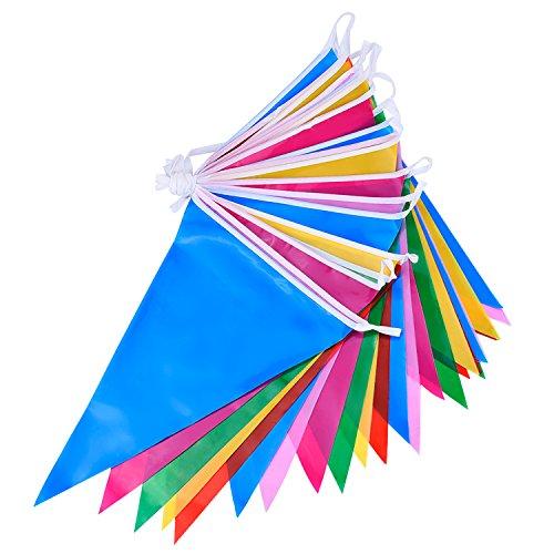 Multicouleur Plastique Fabric Fête Bunting Drapeau Triangulaire 30 Drapeaux Double Face Intérieur/Extérieur Fête Décoration, 36 Pieds