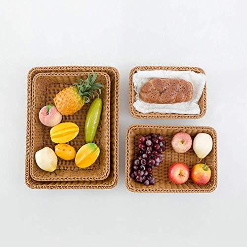 Lavable Rectángulo Imitación Ratán Pan Cesta - Comida para Servir Cestos - Restaurante para Servir/Pantalla Cestos - para Fruta Comida Verduras - Como Imagen Show, 35x25x7cm