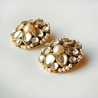 Abhika Creations Kundan Flower Stud Earrings Designer Kundan Fashion Jewelry Special Gift For Women Stud Flower Design Handmade Earrings For Women Unique Earrings