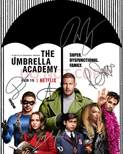 The Umbrella Academy reprint signed cast 11x14 poster photo #3 RP Elliot Page Gerard Way