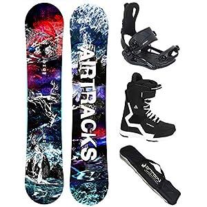 AIRTRACKS Snowboard Set (Paquete Completo) Tabla Fantasy Wide (Hombre)+Fijaciones Master FASTEC+Botas+SB Bolsa/Nuevo 3