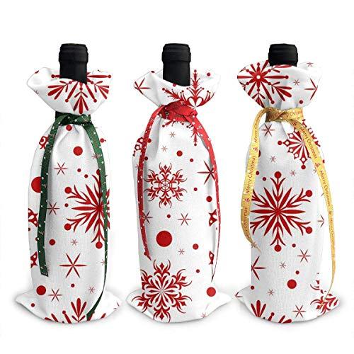 Copos de nieve Navidad rojo y blanco Chrsitmas Navidad botella de vino tinto bolsas cubierta 3 piezas conjunto comedor mesa fiesta vacaciones fiesta decoración ornamento regalo