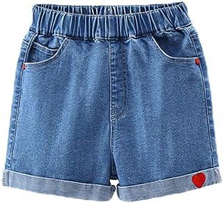 himifashion Shorts for Girls Denim 5-Pocket Cuffed Stretch Loose Denim Short