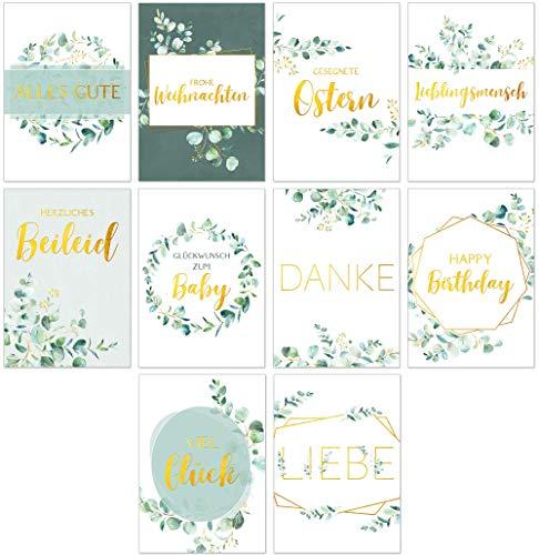 Postkarten-Set mit 10 schönen Karten Eucalyptus - Sprüche Grußkarten Gold Zitaten Lebensweisheiten Motivationskarten verschiedene Anlässe - Glückwunsch zum Baby, Happy Birthday, Liebe, Danke