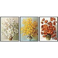 キャンバス絵画白黄赤小さな花の花束のポスターとプリント壁アート写真リビングルームモダンな家の装飾-40x60cmx3フレームなし