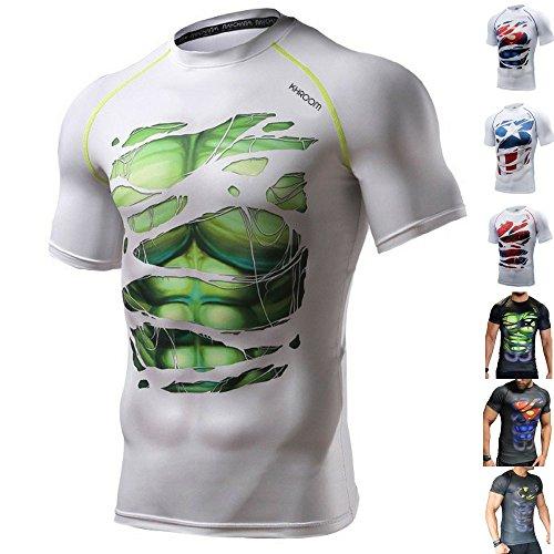 Khroom® Herren Funktionsshirt Kurzarm atmungsaktiv im Helden Design (Hulk weiß, L)